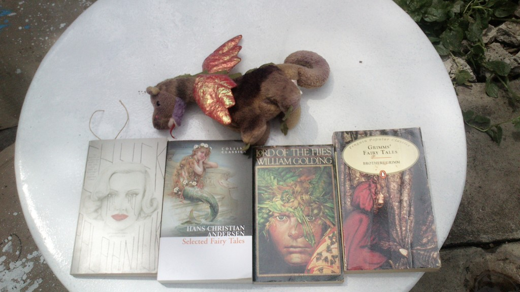 Drogon, dragon, stuffed toy, Chuck Palahniuk, Hans Christian Andersen, William Golding, The Brothers Grimm
