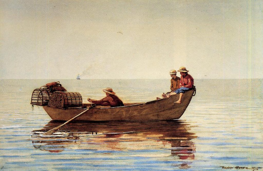 Three Boys in a Dory with Lobster Pots, Winslow Homer, winslow Homer painting