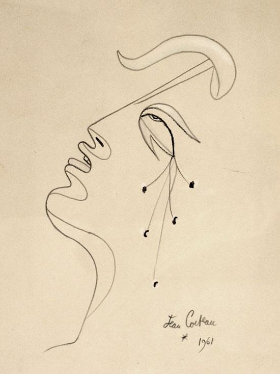 Jean Cocteau drawing of a face
